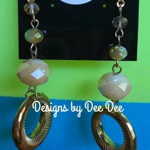 Gold Tone Bead and Loop Drop Earrings